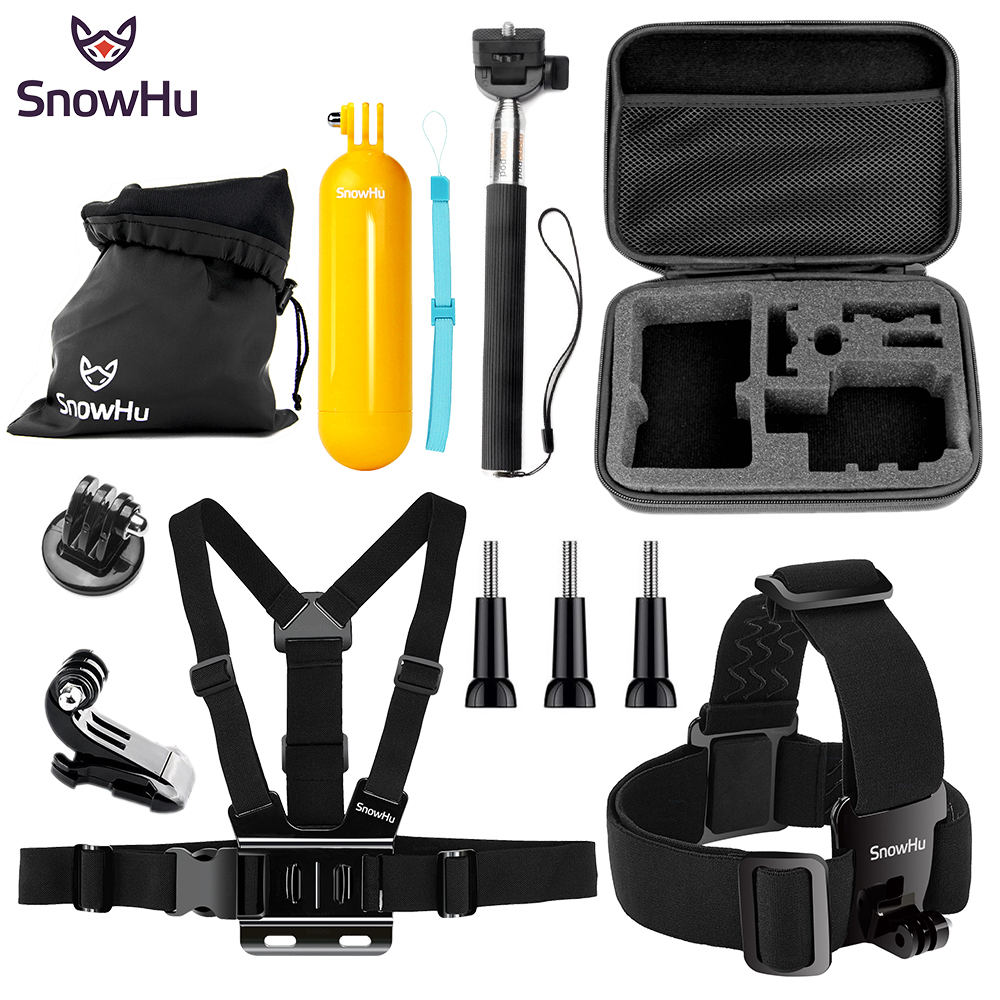 SnowHu for Gopro accessories go pro mount big case sjcam for gopro hero 6 5 4 3 2 session sj4000 sj5000X xiaomi yi action SH81V