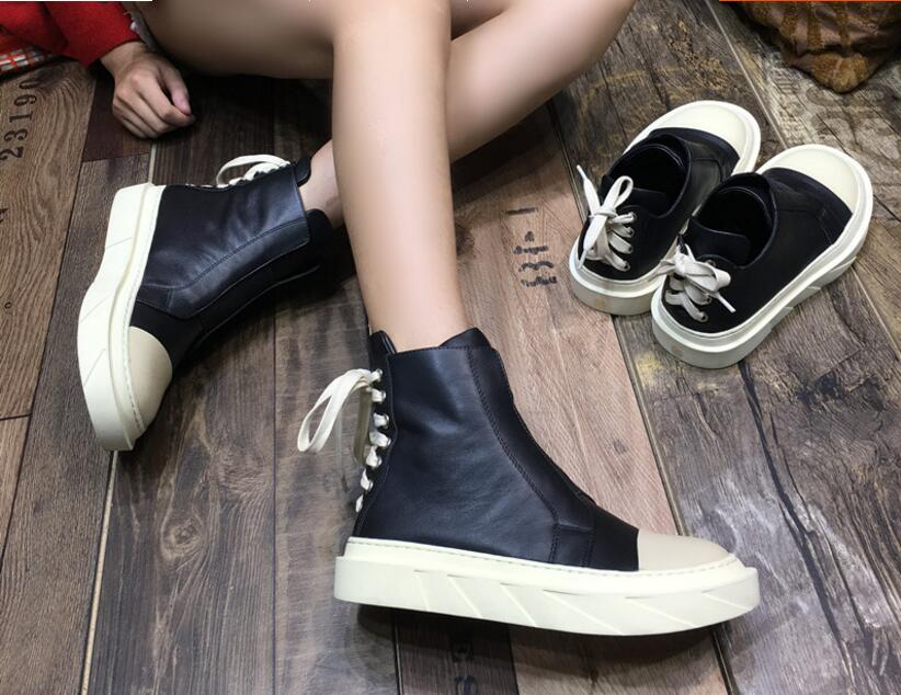 Kaeve Hot Fashion Black Genuine Leather Back Lace Up Ankle Boot Round Toe Women's Shoes Cross-Tied With Velvet Platform Boots front lace up casual ankle boots autumn vintage brown new booties flat genuine leather suede shoes round toe fall female fashion