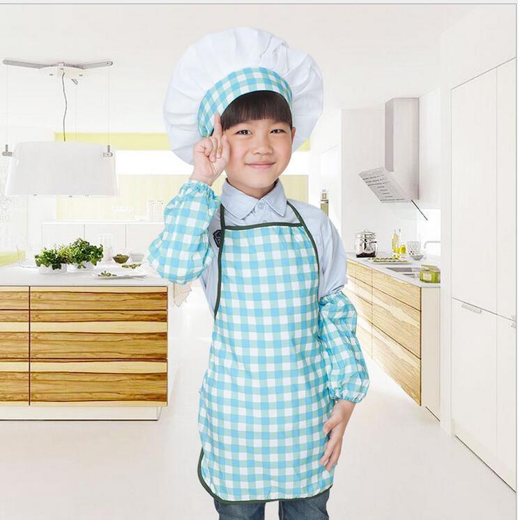 Blue Grid Apron Kit Child Apron Child Chef Activity Apron Kindergarten Kid Painting Clothing Tablier Enfant