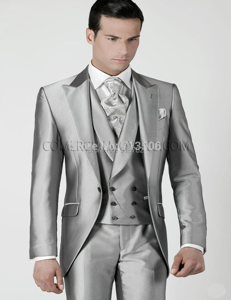 New Brand-Clothing Tailored Wedding Suits For Men 2018 Shiny Sliver Tailcoat Groom Tuxedos Wedding Dress (Jacket+Pants+Vest+Tie)