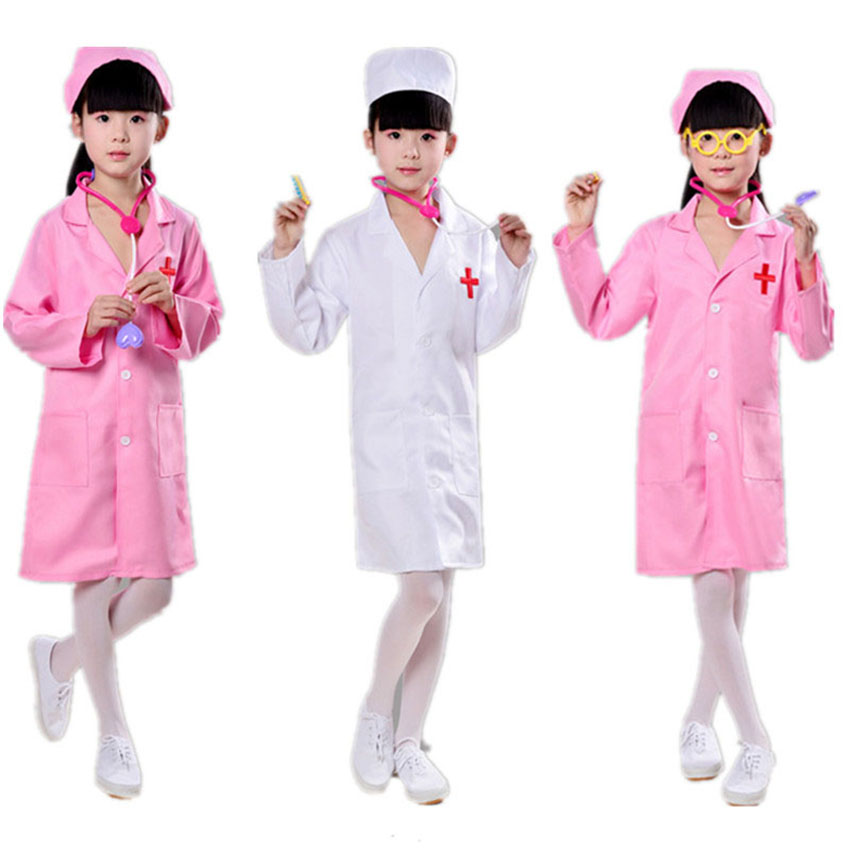 Child Doctor Nurse Uniform Fancy Dress Costume /& Stethoscope Surgeon Ages 2-14