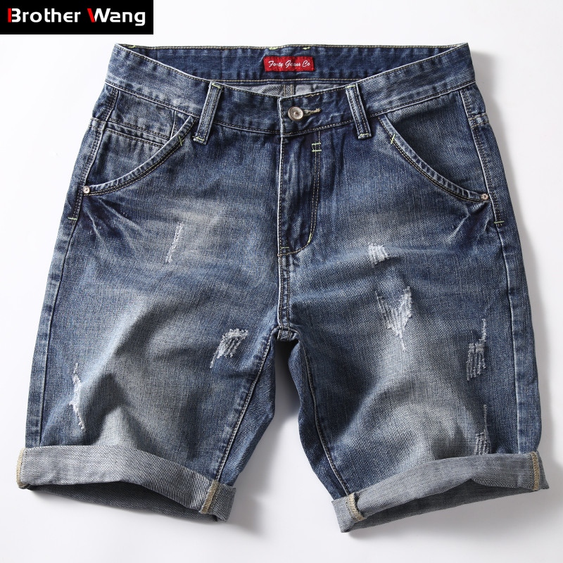 Classic Denim Shorts Men 2019 Summer Fashion Casual Slim Fit Ripped Blue Short Jeans Male Brand Clothes