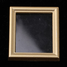 Vintage Mini Dollhouse Decor Furniture Kit Pictures Photo Frame for 1/12 Dolls House Miniature Room Accessories Golden(China)