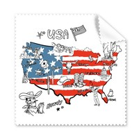 5 Pcs America Map Flag Landmark Statue Of Liberty Word Illustration Glasses Cleaning Cloth Phone Screen