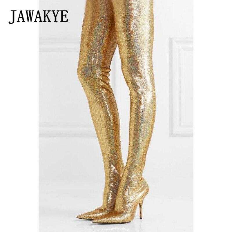 Новый Bling брюки бедра высокие сапоги Для женщин цвет серебристый, Золотой блесток стрейч шпильке блеск талии Bootcuts вечерние Обувь на высоких ...