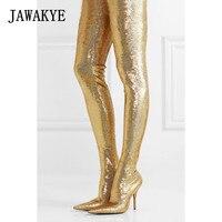 Новый Bling брюки бедра высокие сапоги Для женщин цвет серебристый, Золотой блесток стрейч шпильке блеск талии Bootcuts вечерние Обувь на высоких
