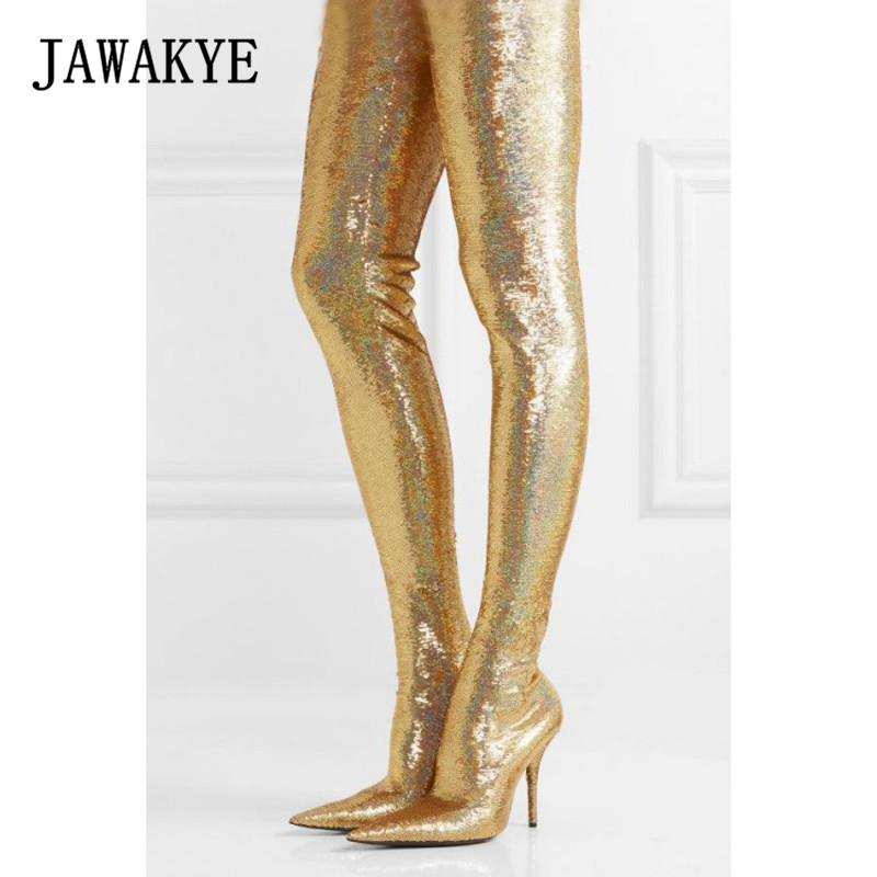 New Bling Bling Pant Thigh high Boots Women Silver Gold Sequin stretch Stilettos glitter Waist Bootcuts Party High Heel Shoes цена 2017