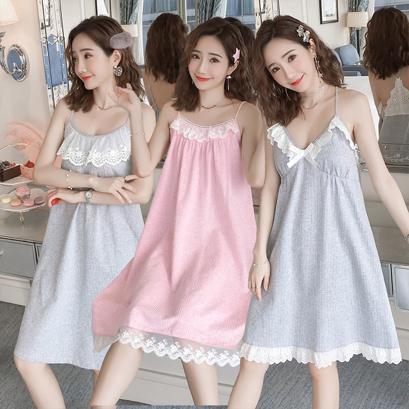 100% Cotton Sexy Lingerie Spaghetti Strap Nightgown For Women 2019 Summer Girls Lace Home Dress Sleepwear Nightdress Night Dress