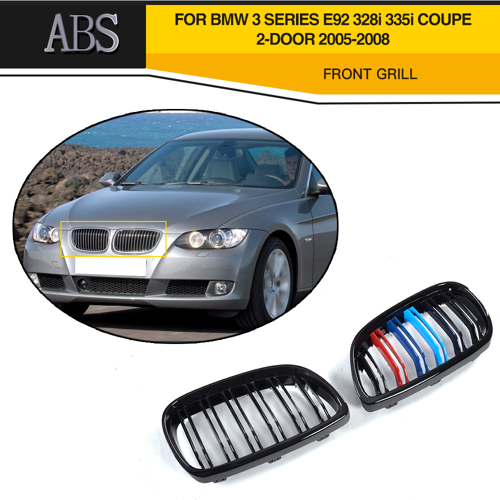3 Series 3 Gloss Style Black Front Grill Grille Double Line For BMW E92 Grill 328i 335i Coupe 2 Door 2005 2006 2007 2008