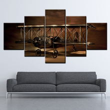 Canvas Painting Airplane Biplane model 5 Pieces Wall Art Modular Wallpapers Poster Print Decor free shipping