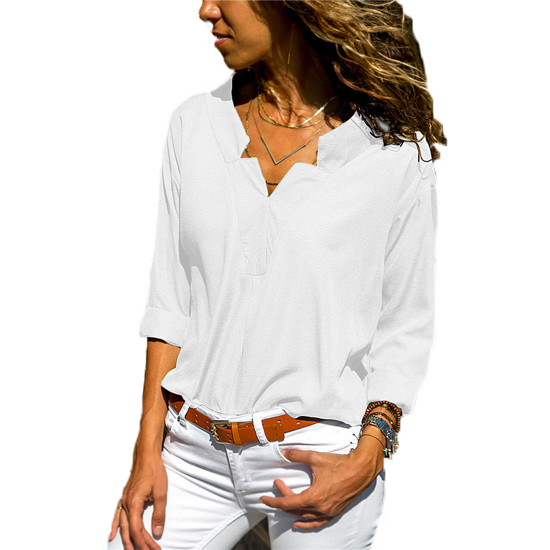 Solid 2019 Sleeve Blouse New Autumn Cotton Women Shirt Sexy V Neck Top Tees Elegant Ladies Blouse Casual Top Blusas Femininas