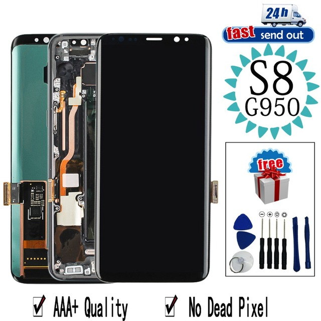 AMOLED LCD For Samsung S8 G950 LCD Display G950F Touch Screen Tested Digitizer Assembly with Frame