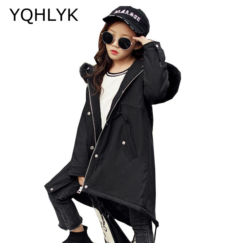New Fashion Winter Clothes Girls Coat 2017 Korean Children Thick Hooded Zipper Jacket Casual Warm Kids Clothes 4-13Y W24 women winter coat leisure big yards hooded fur collar jacket thick warm cotton parkas new style female students overcoat ok238