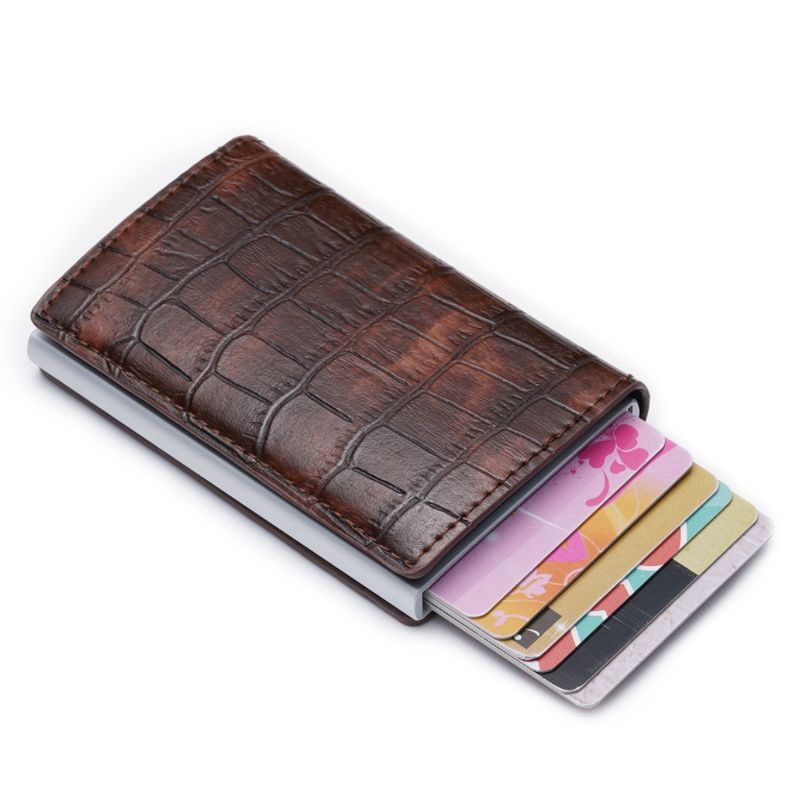 Alligator Pattern Leather Men Aluminum Wallet ID Card