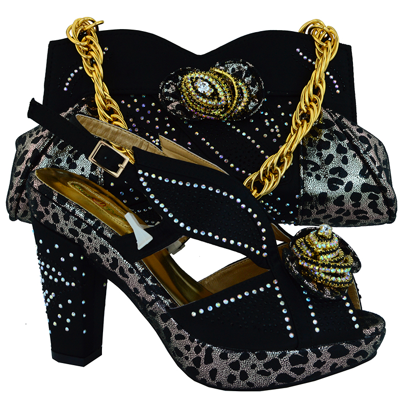 ФОТО Shoes and Bag Italian Matching Shoe and Bag Set Decorated with Rhinestone Women Shoe and Bag To Match for Parties