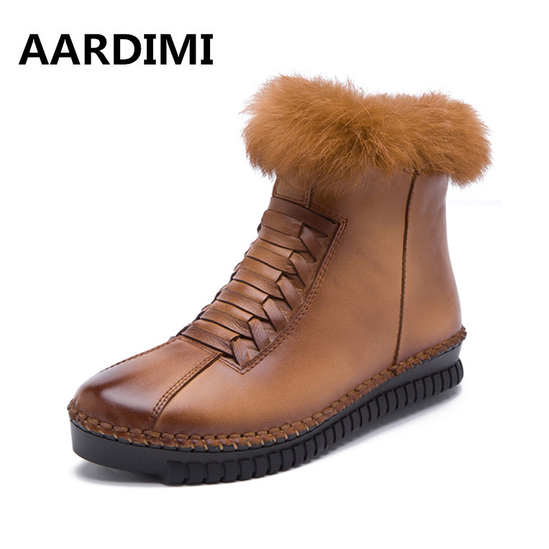 New 2017 Winter Handmade Women Boots Genuine Leather Fashion Solid Ankle Flats Boots Woman Casual Vintage Women Boots Shoes tastabo genuine leather women boots new brand handmade casual leather shoes leather moccasin fashion driving flats boots shoes
