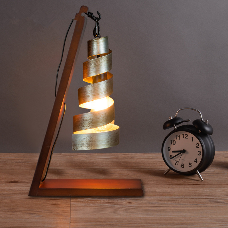 Aliexpress.com : Buy Nordic Vintage Industrial Table Lamps Wood Iron Retro Desk  Lamps Bedroom Bedside Lamps Luminaire Light Fixtures From Reliable Book ... Part 27