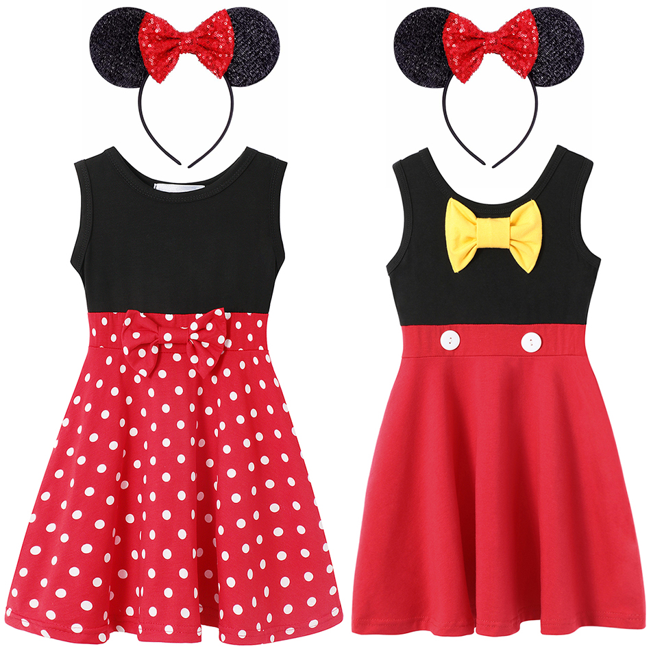 Kids Mickey Minnie Mouse Dress Girl Princess Costume Children Cosplay Mini Mouse Clothing Cartoon Halloween Party Fancy Dresses
