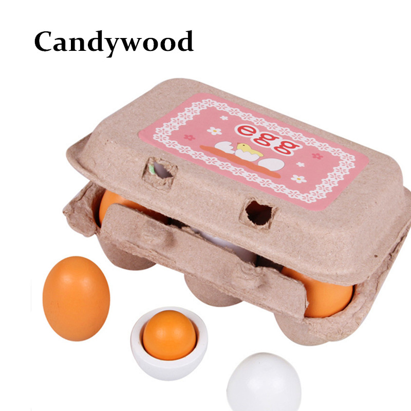 Kids Kitchen toys Wooden Lovely Eggs Box Toy Food Pretend Play House Kitchen Food Toys for Children Baby Girl