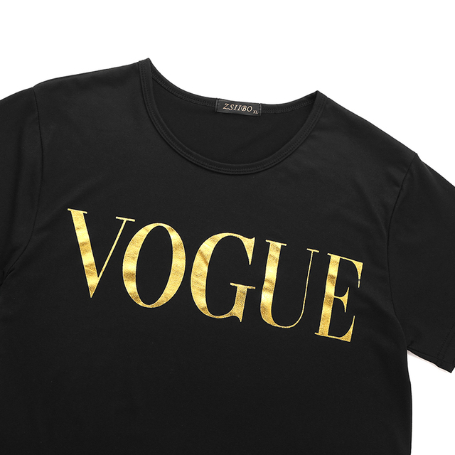 Summer VOGUE Print Gold Letter T-shirt