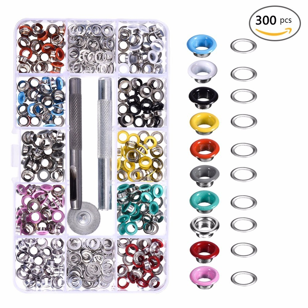 5MM Diameter 300pcs Colorful Eyelet Buckles Grommet Mounting Tools DIY Leather Craft Rivets Replacement