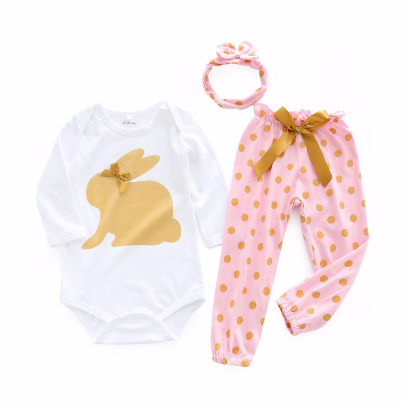 2018 Baby Boy Girl 3 Piece Set Cute Pattern Romper + Pants Classic Clothes Newborn Baby Clothing Set 2pcs set newborn floral baby girl clothes 2017 summer sleeveless cotton ruffles romper baby bodysuit headband outfits sunsuit