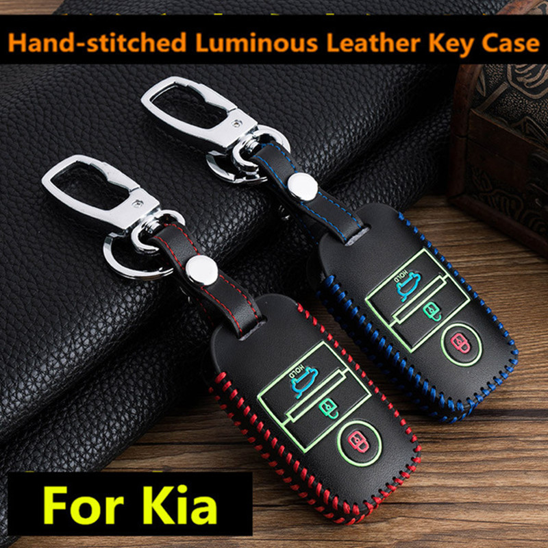 Leather Luminous Car Key Cover Case Keychain For Kia Ceed Rio Sportage R K3 K4 K5 Ceed Sorento Cerato Optima 2015-2018 Key Case