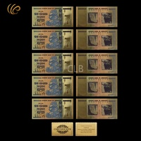 WR Colorful Zimbabwe 100 Trillion Dollar Gold Plated Banknote Collection Replica Money with Cerfiticate Card for Christmas Gifts