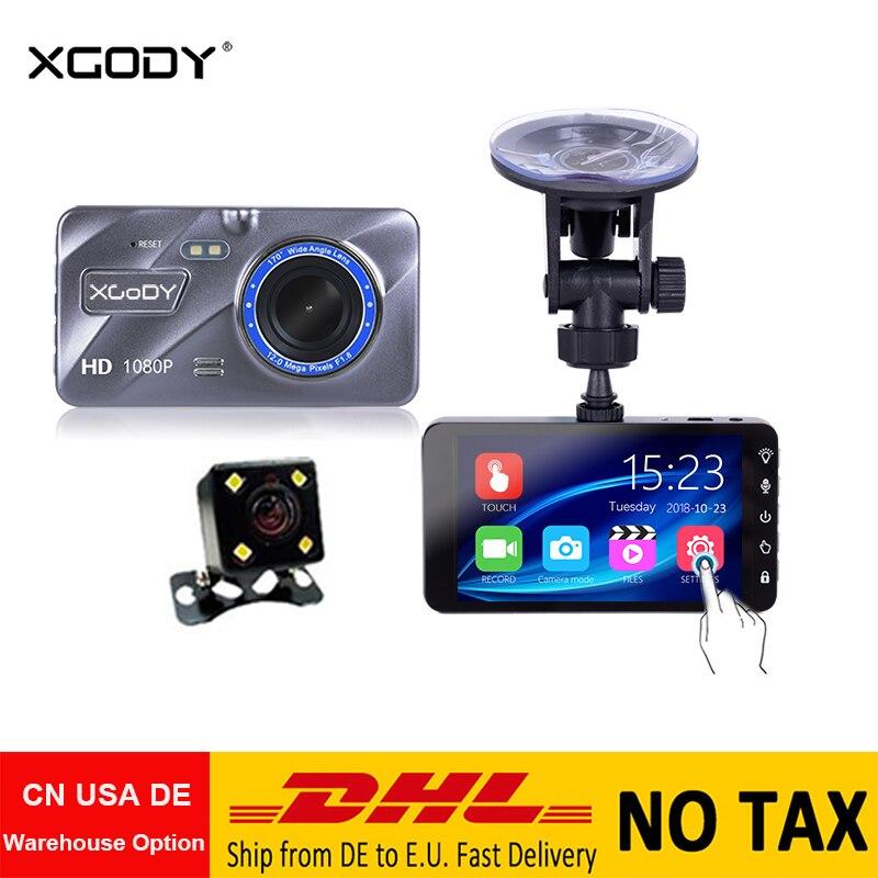 XGODY 4 Dash Cam + Caméra Arrière de Vision Nocturne Vidéo Enregistreur dashcam Détection De Mouvement Voiture Dvr Miroir A10 mise à jour Écran Tactile