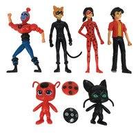 New Arrival 6PCS SET Miraculous Ladybug Action Figure Toys Adrien Noir Agreste Cat Plastic Doll Christmas