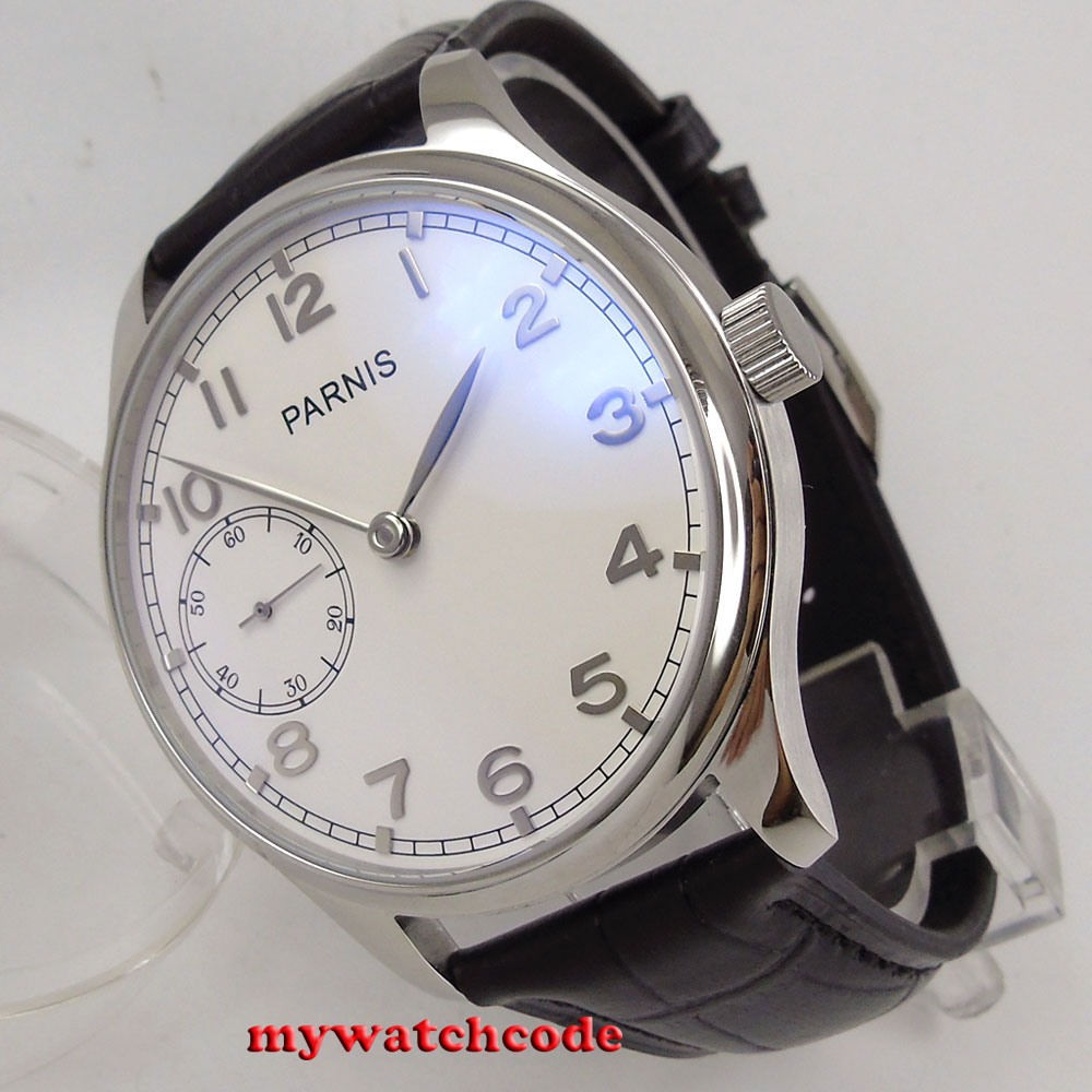 44mm parnis white dial silver makrs ST 3600 hand winding 6497 mens wrist watch P28 цена и фото