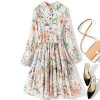 Women girls 2019 autumn fall fashion cotton dress long sleeve garden floral print a line brand dresses