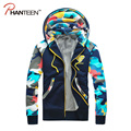 Thicken Add Woolen Camouflage Patchwork Man Hoodies Autumn Winter Fleece Warm Cardigan Hooded Coats Jackets Fashion Men Clothing