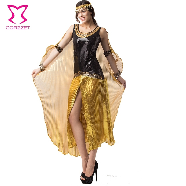 gold black sequined egyptian cleopatra costume women princess
