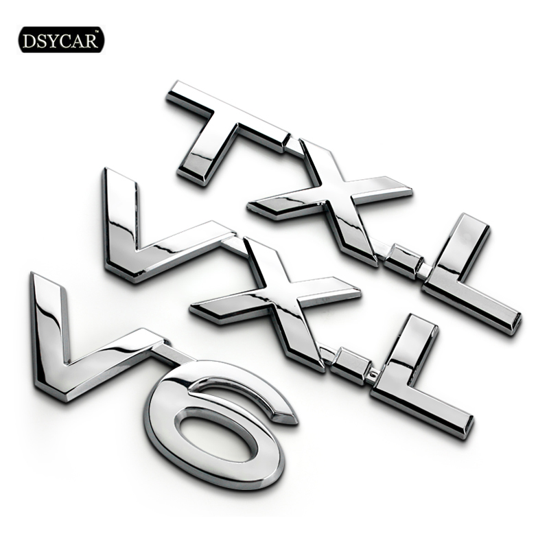 Dsycar 1Pcs 3D Metal TXL VXL VX V6 Car Side Fender Rear Trunk Emblem Badge Sticker Decals for motorcycle car Prado Car Styling 3d metal auto car performance badge decal fender emblem for trd sports racing