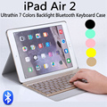 Para ipad air 2 ipad 6 destacável 7 cores backlight Backlit Teclado Sem Fio Bluetooth + Capa de Couro PU Ultrafinos Stand cobrir