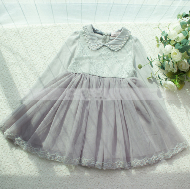 2a978cf79 New Kids Baby Cotton Lace Beading Turn down Collar Dress