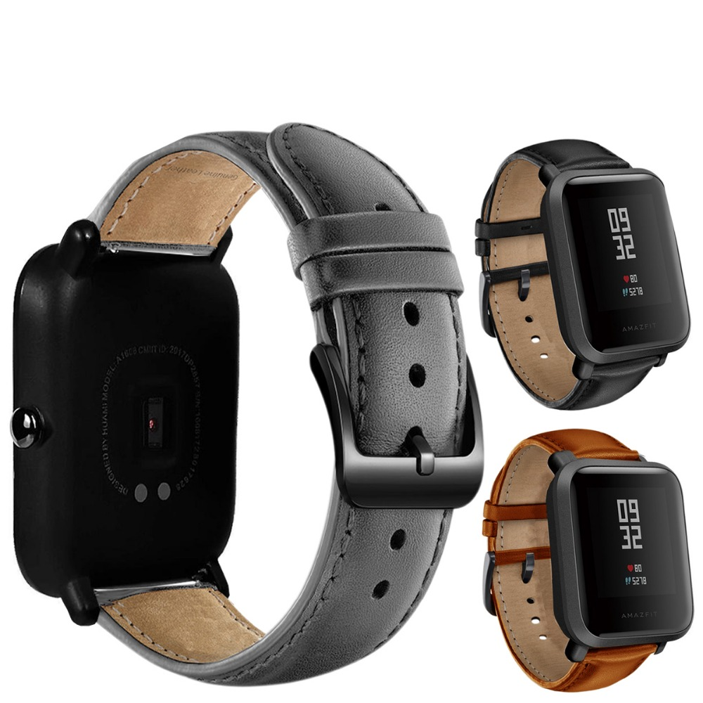 DKPLNT Black Buckle Genuine Leather for Xiaomi huami Amazfit Bip BIT PACE Lite Youth Watch Band strap fitness bracelet cool magic sticker canvas strap wrist band for huami amazfit bip youth watch fitness tracker fitness braceletdrop shopping