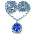 Big Gemstone 20x15mm Swiss Blue Topaz Created SheCrown Woman's Wedding   Silver Necklace 18.5 inch 40x23mm