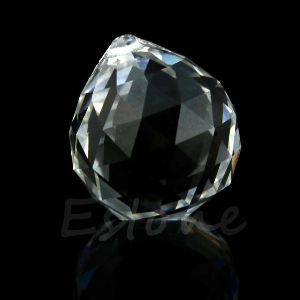 30mm przezroczysta kryształowa kula świetlna pryzmaty część ślubna do zawieszenia-B119