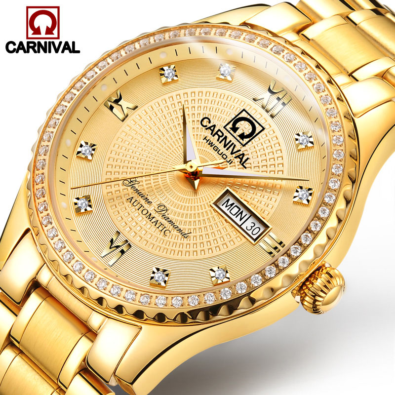 Carnival Watch Men Automatic Mechanical Luminous All Gold Stainless Steel Waterproof Date
