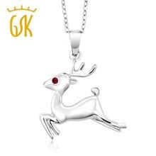 Gemstoneking chica reno de plata de ley 925 colgante redondo rojo creado rubí colgante animal del collar de la joyería de regalo de navidad