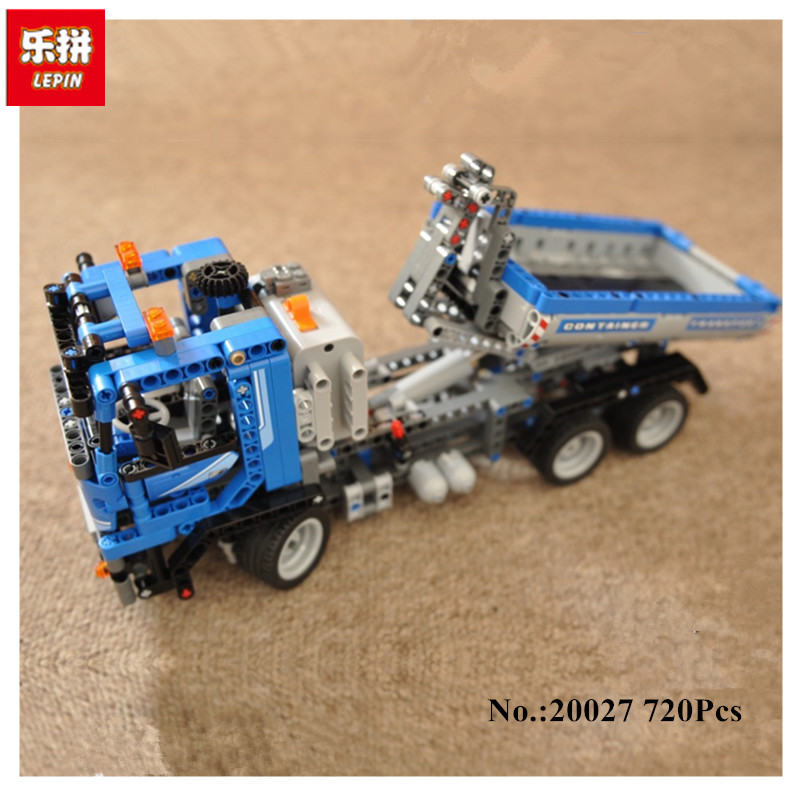 IN STOCK LEPIN 20027 720Pcs Technic Mechnical Series The Container Truck Set Educational Building Blocks Bricks Toys Model 8052 720pcs techinic 2in1 motorized container