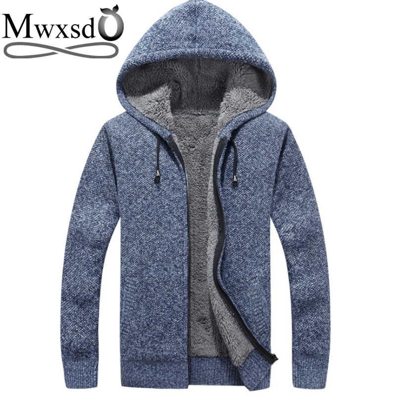 Mwxsd brand winter Men casual hooded thick warm cardigan sweater men s warm  fur Zipper Cardigan solid 6a9d1199cce1