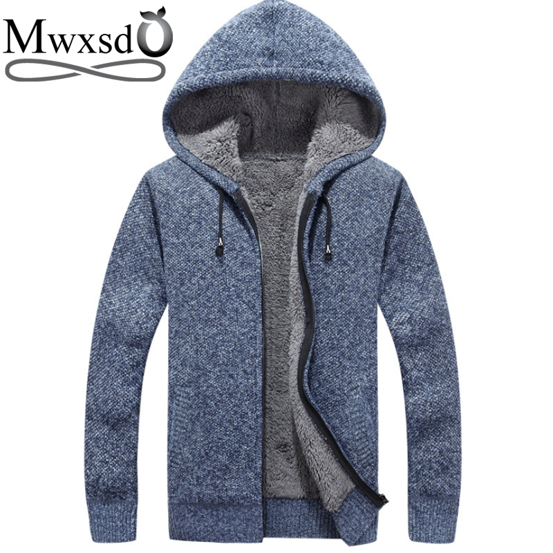 Mwxsd brand winter Men casual hooded thick warm cardigan sweater men's warm fur Zipper Cardigan solid Male cotton Cardigan