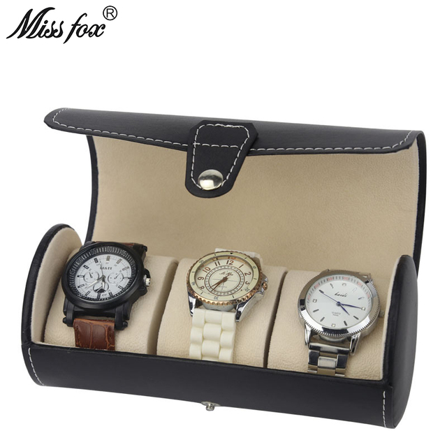 7166b6b7f651 US $28.24 48% OFF|MISSFOX Cylinder Watch Box 3 Bit PU Leather Portable  Watch Display Storage Box Watch Jewelry Box Carry Bag WATCH BOX-in Watch  Boxes ...