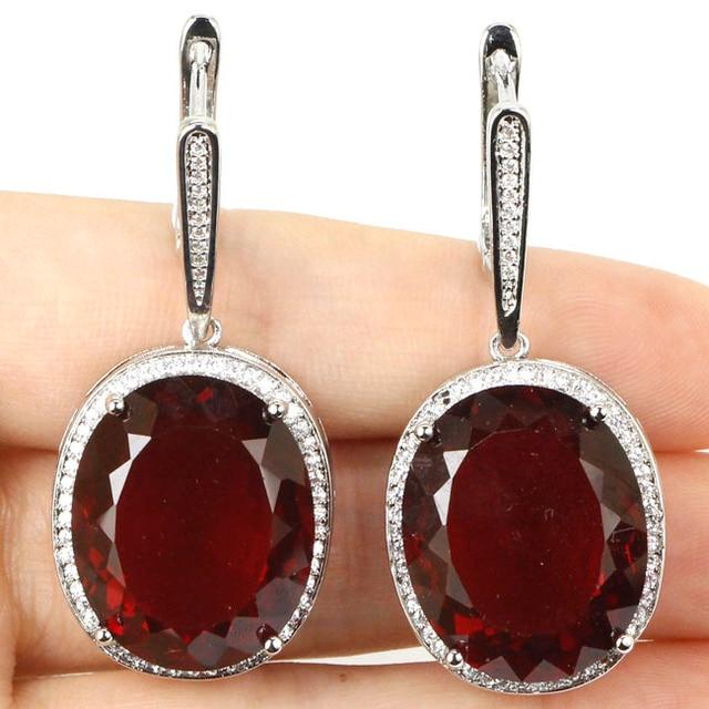 Big Gems 22x18mm Blood Rubies, CZ SheCrown Engagement Silver Earrings 40x20mm