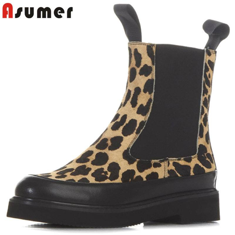 ASUMER HOT SALE 2018 fashion leopard horse hair boots slip on platform ankle boots for women round toe female winter boots hot sale tassels leopard pattern pashmina for women