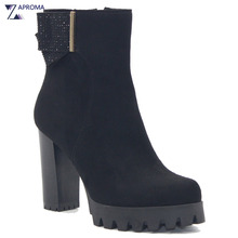 Autumn Chunky Heel Bowtie Crystal Round Toe Sexy Ankle Boots Women Faux Suede Winter Fleece Platform