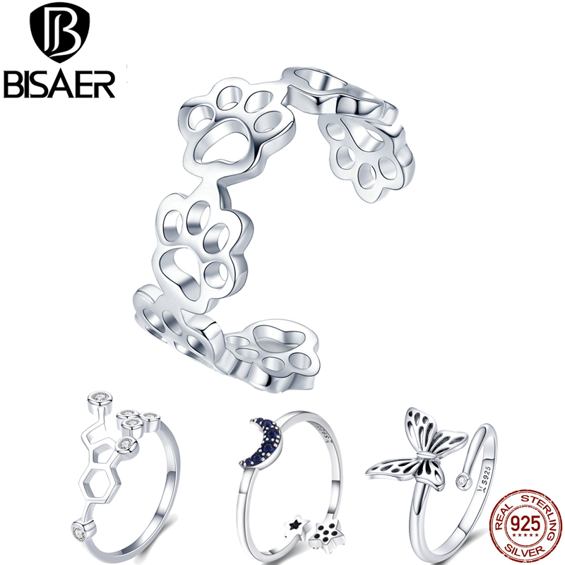 BISAER 925 Sterling Silver adjustable footprints moon star open size finger Rings for Women Wedding Jewelry Christmas Gift